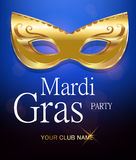 Mardi Gras golden carnival mask with ornaments for poster, greeting card, party invitation, banner or flyer Stock Image