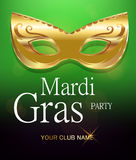 Mardi Gras golden carnival mask with ornaments for poster, greeting card, party invitation, banner or flyer on beautiful green bac Stock Image