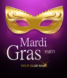 Mardi Gras golden carnival mask with ornaments for poster, greeting card, party invitation, banner or flyer on beautiful purple ba Royalty Free Stock Photo