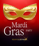 Mardi Gras golden carnival mask with ornaments for poster, greeting card, party invitation, banner or flyer on beautiful red backg Stock Image