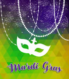 Mardi gras green and purple background with mask. Mardi gras design with traditional color background, carnival mask silhouette and party decoration. EPS10 Royalty Free Stock Photography