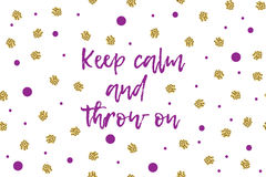 Mardi gras greeting card with violet and gold dots. Mardi gras greeting card with text, violet and gold dots. Inscription - Keep calm and throw on Royalty Free Stock Images