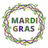 Mardi gras greetings. In beads frame isolated on white