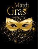 Mardi Gras guld- karnevalmaskering för affisch, hälsningkort, partiinbjudan, baner eller reklamblad på svart bakgrund med guld- s royaltyfri illustrationer