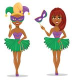 Mardi Gras gyckelmakarekvinna i maskering och utan maskering stock illustrationer