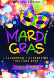 Mardi Gras hand drawn sign and traditional colors carnival mask vector poster Stock Photos