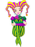 Mardi Gras harlequin lady Stock Images