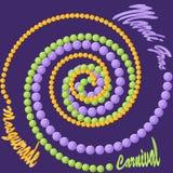 Mardi Gras-Hintergrund mit den purpurroten, grünen und gelben gewundenen Perlen Stockfoto