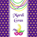 Mardi Gras hliday card. Seamless pattern with fleur de lis or lily texture. Greeting inscription, carnival mask with feathers and stock illustration