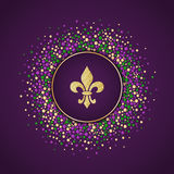 Mardi Gras holiday background. Round dotted frame with golden glitter fleur de lis. Royalty Free Stock Photos