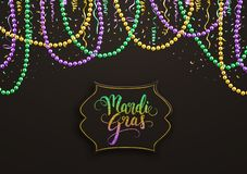 Free Mardi Gras Holiday Decorative Postcard With Colorful Beads And Calligraphic Lettering, Vector Illustration Royalty Free Stock Photography - 139980157