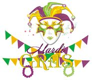 Mardi gras holiday with symbols. Mardi gras holiday and mask with beads and colored hubs
