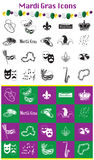 Mardi Gras Icons vektor illustrationer