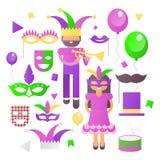 Mardi Gras  Icons Set royalty free stock photos