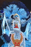 Mardi Gras Indian Decked Out With Feathers, Beads and Ribbons. A group of African Americans have the title of Mardi Gras Indians.  They create elaborate costumes Stock Image