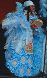 Mardi Gras Indian Decked Out in Royal Blue Costume. A group of African Americans have the title of Mardi Gras Indians.  They create elaborate costumes, new every Royalty Free Stock Photography