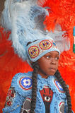 Mardi Gras Indian Girl Waiting to Perform Stock Images