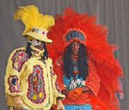 Mardi Gras Indians With Unique dräkter arkivbilder