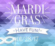 Mardi Gras inscription with masquerade mask silhouette on mosaic background Stock Image