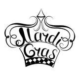 Mardi Gras inskrift krona Dekor för den New Orleans festivalen vektor illustrationer