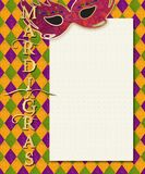 Mardi Gras Invitation Art with Mask. And festive colorful background and lettering stock illustration