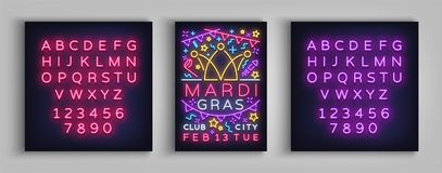 Mardi Gras invitation template design. Neon-style poster, neon sign, brochure, banner, flyer, invitation leaflet on Fat. Mardi Gras invitation template design stock illustration