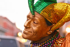 Mardi gras jester clown in New Orleans. Mardi Gras street performer, jester clown, in French Quarter, New Orleans (color