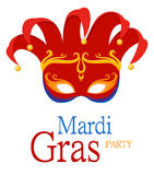 Mardi Gras Jester`s red carnival mask with ornaments for poster, greeting card, party invitation, banner or flyer on white backgro royalty free illustration