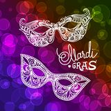 Mardi Gras karnevalmaskering på bokehbakgrund Vektorillustration EPS10 vektor illustrationer