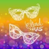 Mardi Gras karnevalmaskering på bokehbakgrund Vektorillustration EPS10 stock illustrationer