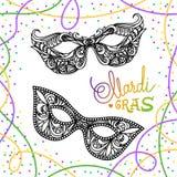 Mardi Gras karnevalmaskering på vit bakgrund Vektorillustration EPS10 stock illustrationer