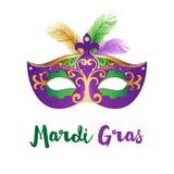 Mardi Gras-Karte mit Karnevalsmaske Lizenzfreie Stockfotos