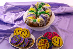 Mardi Gras King Cake with baby Royalty Free Stock Images