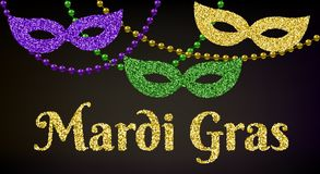 Mardi Gras kort stock illustrationer