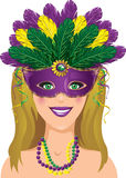 Mardi Gras Lady vektor illustrationer