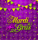 Mardi Gras Lettering Background, Invitation for Fat Tuesday Stock Photos