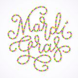 Mardi Gras lettering consist of gold, green, purple beads. Eps8. RGB. Global colors