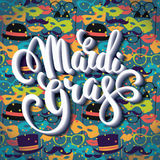 Mardi Gras. Lettering design for Banners, Flyers, Placards, Post Royalty Free Stock Photos