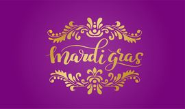 Mardi Gras Lettering with Swirl Elements. Gold Mardi Gras Lettering on violet background. Holiday Banner with Swirl Elements and florishes designs Royalty Free Stock Photography