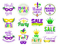 Mardi Gras lettering typography set. Emblems, logo with text sign Royalty Free Stock Images