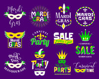 Mardi Gras lettering typography set. Emblems, logo with text sign Royalty Free Stock Photography