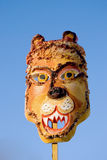 Mardi Gras lion mask and sky Stock Photos