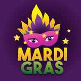 Mardi Gras Logo Poster. Carnival type treatment. Mask Poster. Calligraphy and Typography Card.Holiday poster or placard Stock Image