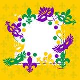 Mardi Gras Marco amarillo elegante Lugar para el texto Fotografía de archivo libre de regalías