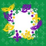 Mardi Gras Marco verde elegante Lugar para el texto Fotografía de archivo