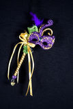 Mardi Gras Mask. Purple, green and gold mardi gras mask on sceptar isolated on black