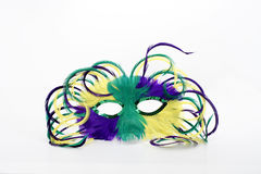 Mardi gras mask. Feathered Mardi gras mask on white background Stock Image