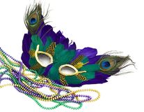 Mardi gras mask and beads. Isolated (room to write