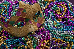 Mardi Gras Mask and Beads stock photo