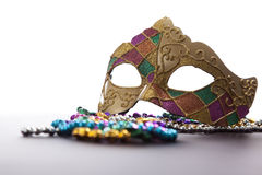 Mardi Gras Mask and Beads Stock Photos